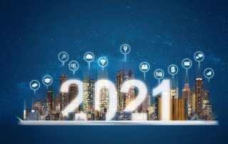 2021 text on building with technology icons - technology trends